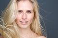 Beauty blond female fashion model close up portrait of a Stock Image