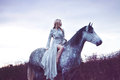 Beauty blondie with horse in the field,  effect Royalty Free Stock Photo