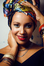 Beauty bright african woman with creative make up