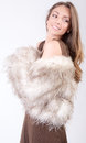 Beauty in brown a portrait of a pretty woman a fur coat Stock Photos