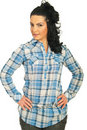 Beauty brunette woman in cool shirt Stock Image