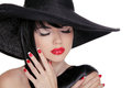 Beauty Brunette Woman with glamour bright makeup and red manicur Royalty Free Stock Photo