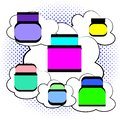 Vector illustration in pop art comic style. Beauty and care cosmetic cream on bubble speech clouds and halftone