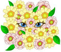 Beauty cartoon eyes looking throw flowers Stock Image