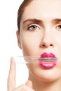 Beauty closeup portrait woman holding laboratory test tube her lips isolated white Stock Images