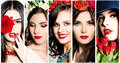 Beauty Collage. Faces of Women. Red Lips and Flowers