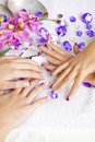 Beauty concept - acrylic fingernails Stock Photo