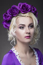 Beauty Concepts. Closeup Portrait of Caucasian Blond Female Mode Royalty Free Stock Photo