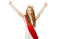 Beauty contest winner isolated on the white Royalty Free Stock Images