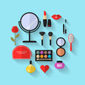 Beauty, Cosmetic and Makeup Vector flat Icons Royalty Free Stock Photo
