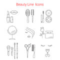 Beauty, Cosmetic and Makeup Vector line icons.