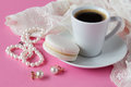 Beauty cup of coffee and macaroon, bride`s morning, cozy mornin