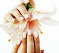 Beauty delicate hands with manicure holding flower lily close up isolated on white, spa salon concept Royalty Free Stock Photo