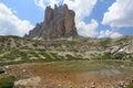 Beauty of dolomites tre cime di lavaredo reflecting in water italy Royalty Free Stock Photos