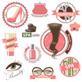Beauty and fashion emblems highly detailed set of Royalty Free Stock Photos
