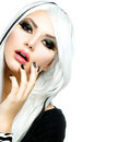 Beauty fashion girl black white style long white hair Royalty Free Stock Photography