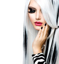 Beauty fashion girl black white style long white hair Stock Image