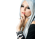 Beauty fashion girl black and white style long white hair Royalty Free Stock Images