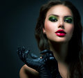 Beauty fashion glamour girl vintage style model wearing gloves Royalty Free Stock Photo