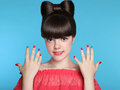 Beauty fashion happy smiling teen girl with funny bow hairstyle Royalty Free Stock Photo