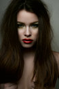 Beauty fashion model with red lips and hands on breasts Royalty Free Stock Photo