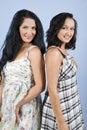 Beauty fashion models in summer dress Stock Image