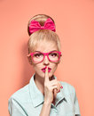 Beauty fashion nerdy woman thinking, glasses.Pinup Royalty Free Stock Photo