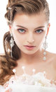 Beauty - fashionable bride face close up portrait Royalty Free Stock Photo