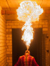 Picture : Beauty fire show in the dark ice and mint