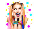 Beauty funny girl portrait with colorful makeup Royalty Free Stock Photo