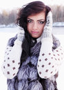 Beauty in a fur vest portrait of woman Stock Photos