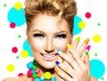 Beauty Girl with Colorful Makeup, Nail polish Royalty Free Stock Photo