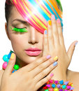 Beauty girl with colorful makeup portrait hair and accessories Royalty Free Stock Photography