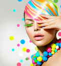 Beauty girl with colorful makeup portrait hair and accessories Stock Image