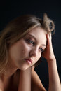 Beauty girl cry on black Stock Images