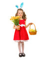 Beauty girl with easter basket full length of holding narcissus and isolated on white background Royalty Free Stock Photography