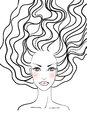 Beauty girl face. Hand-drawn fashion model Royalty Free Stock Image