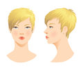 Beauty girl face various turns head with short blond haircut in front in profile Stock Photo