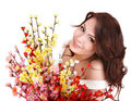 Beauty girl with group spring flower. Royalty Free Stock Photos