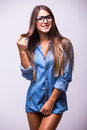 Beauty girl in jeans shirt  posing Royalty Free Stock Photo
