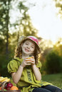 Beauty girl with juce the Royalty Free Stock Photos