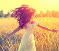 Beauty girl with long blowing hair outdoors Royalty Free Stock Photo