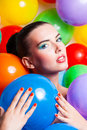 Beauty girl portrait with colorful makeup nail polish and accessories colourful studio shot of funny woman vivid colors Stock Photo