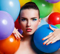 Beauty girl portrait with colorful makeup nail polish and accessories colourful studio shot of funny woman vivid colors Stock Images