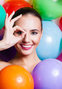 Beauty girl portrait with colorful makeup nail polish and accessories colourful studio shot of funny woman vivid colors Royalty Free Stock Photography