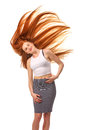 Beauty Girl Portrait. Healthy Long Red Hair. Beautiful Young Wom Royalty Free Stock Photo