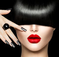 Beauty girl portrait with trendy hair style makeup and manicure Royalty Free Stock Image