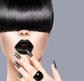 Beauty girl portrait with trendy hairstyle black lips and nails Royalty Free Stock Photos