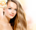 Beauty girl with rose beautiful model flower Royalty Free Stock Image