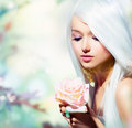 Beauty girl with rose beautiful spring flower fantasy Royalty Free Stock Photography
